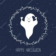 funny ghost flying in the night sky halloween card template