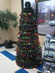 tire christmas tree christmas lights decoration