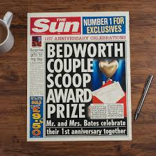 year anniversary gift for him the sun personalised spoof newspaper article 1st year