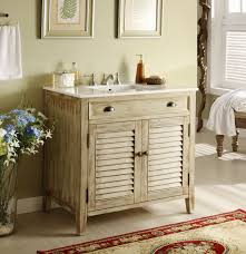 real wood small rustic vanity in natural colors white granite