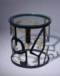 wrought iron coffee table with glass top pair of unique modern wrought iron miro side tables in black gold