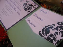 wedding invitations inserts damask cascade wedding invitation set square pocketfold