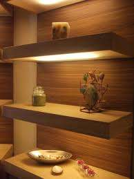 innovative three tiers floating shelves with led lighting and cool
