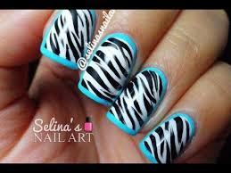 zebra pattern nail art zebra print blue border nail art tutorial youtube
