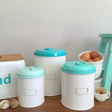 brilliant metal canisters kitchen with set 3 aqua blue tin metal