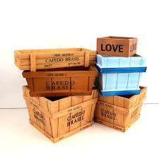 Decorative Desk Organizer Wooden Decorative Vintage Storage Boxes Bins Bonsai Flowerpots