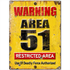 Warning Area 51 Restricted Military Game Room Sign Warning Signs