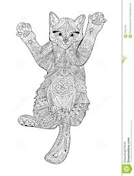 funny kitten coloring book adults zentangle cat book stock