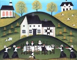 primitive thanksgiving pilgrim painting print cherylbartleydesigns
