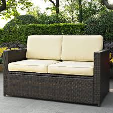 wicker outdoor patio furniture crosley palm harbor outdoor wicker loveseat walmart com