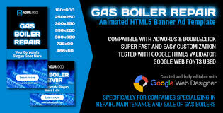 gas boiler repair animated html5 banner ad template by y n