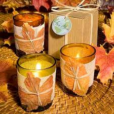 Fall Decorating Projects - candle centerpiece ideas table decoration with fall leaves and