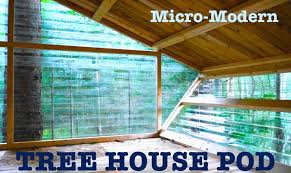micro modern tree house built at tiny house summer camp vt