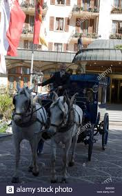 horse drawn carriage at grand hotel zermatterhof in zermatt valais