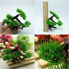 2pcs aquarium decoration bonsai tree plastic artificia plants pine