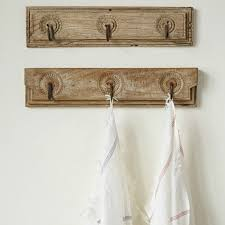 found wood wall decor with 3 forged hooks antique farmhouse