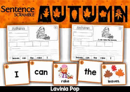 autumn fall sentence scramble with cut and paste worksheets by
