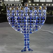 shop northlight pre lit metal freestanding menorah with white led