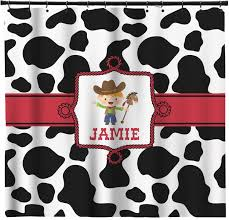 cowprint w cowboy shower curtain personalized potty training