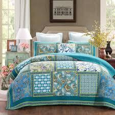Cotton Quilted Bedspread Dada Bedding Greek Mediterranean Fountain Bohemian Patchwork