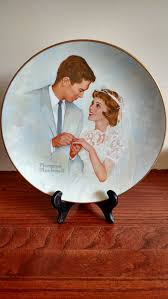 and groom plates norman rockwell and groom collectible plate vintage decor