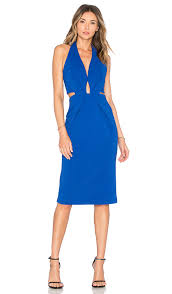 plunge dress nicholas bandage halter plunge dress in monaco blue revolve