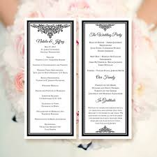 make your own wedding programs wedding program template black make