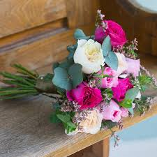 real flowers david mixed pink bridesmaid bouquet