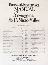manual clausing kondia mill simmons a 1 micro miller horizontal mill part manual ozark tool