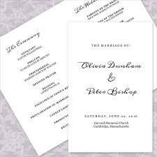simple wedding program 21 wedding program templates free sle exle format
