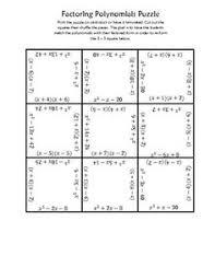 factoring polynomials puzzle factoring and quadratics