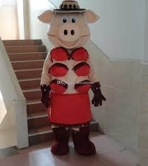 pig with red bra mascot costume fancy party dress halloween