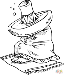 sombrero coloring page cartoon clipart of a black and white happy