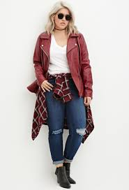 cloth moto jacket forever 21 plus size quilted peplum moto jacket in red lyst