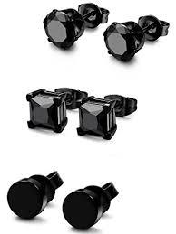 black stud earrings for men fibo steel 3 pairs stainless steel black stud earrings