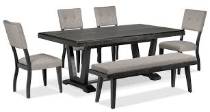 6 piece dining table and chairs imari 6 piece dining room set black and grey leon s