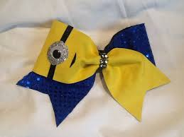 minion ribbon minion cheer bow 3 ribbon cheer bows cheer and etsy