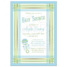 baby shower invitation blue green plaid baby rattle