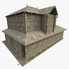 3d model ancient log house cgtrader