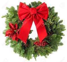 wreath made from real pine boughs isolated on white