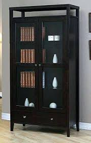 Solid Wood Bookcases With Glass Doors Bookcase Aristo Modern Halifax Brown Solid Wood 2 Door Bookcase