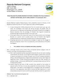 press bureau press release following rwanda national congress political