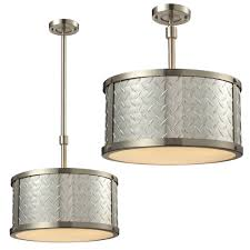 Ceiling Mounted Light Fixture by Elk 31424 3 Diamond Plate Brushed Nickel Flush Mount Light Fixture