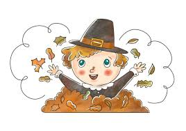 pilgrim kid with autumn leaves for thanksgiving
