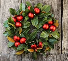 outdoor ornament magnolia wreath garland pottery barn