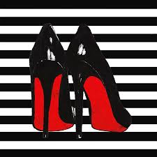 christian louboutin shoes black painting by del art