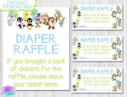 looney tunes baby shower baby looney tunes baby shower raffle blue insert ticket