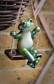 frog on a swing stock photo image 69103609