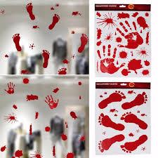 2017 halloween scary bloody handprint footprint window clings door
