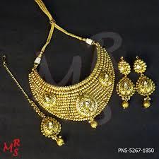 chokers necklace gold images Broad gold plated designer choker necklace set at rs 1850 set jpg